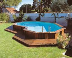 Modern Above Ground Pool Decks Ideas Wooden Deck Round Pool Lawn