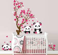 pandas and cherry blossom tree wall decal stickers uk panda erflies