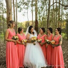 2018 Coral Chiffon Bridesmaids Dresses Floor Length For Forest Garden Summer Weddings Boho Pleats V Neck Maid Of Honor Gowns Plus Size After Six