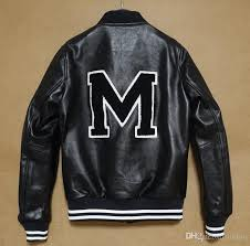 top quality m letter embroidery baseball genuine leather sheepskin jackets famous brand designer luxury personalized leather jackets mens jacket brands cool