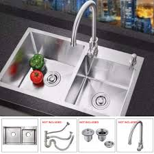 Stainless Steel Kitchen Sink Double Bowl Basin Tub Handmade Mount 30