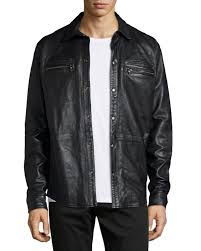 john varvatos star usa zip pocket leather shirt jacket black