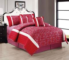 moon red king size 260 x 240 cm two sided compressed comforter 6 pieces bedding sets