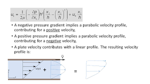 a negative pressure grant implies a parabolic velocity profile contributing for a positive velocity