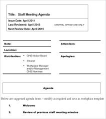 Agenda Format Sample Employee Meeting Agenda Template
