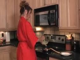 Milf in red kitchen