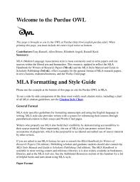 Mla Style Sheet From Owl Purdue Pdf Flipbook