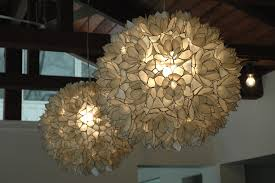 wonderful lighting accessories with lotus capiz chandelier awesome image of decorative hanging white flower lotus