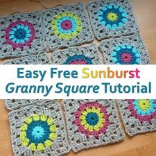 Easy Crochet Granny Squares Free Patterns Cool Easy Free Sunburst Granny Square Crochet Pattern Pinterest