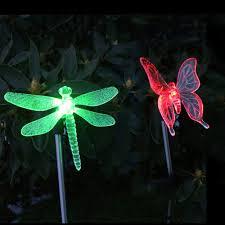 Dragonfly Garden Lights Us 12 99 36 Off 2 Pack Led Party Home Decor Led Solar Garden Stake Light Multi Color Changing Butterfly Dragonfly Garden Decor Figurines Lights In