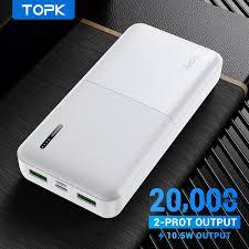 TOPK Sạc dự phòng I2009Q pin 20000mAh, sạc nhanh có đèn LED báo lượng pin,  dùng cho iPhone HUAWEi Samsung, giá siêu tốt