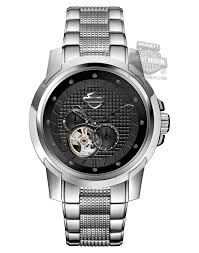 barnett harley davidson watches harley davidson® mens automatic black embossed square grid pattern dial watch 76a144 by bulova
