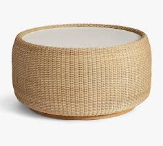 Gold drum cocktail table quantity. Hampton All Weather Wicker Drum Coffee Table Natural Pottery Barn