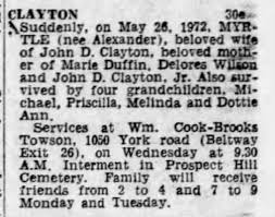 Clayton, Myrtle (Alexander) 26 May 1972 - Newspapers.com