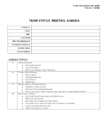 Team Meeting Agenda Template Free Excel Status Project Design Weekly ...