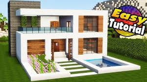 modern house.  House Minecraft Easy Modern House Tutorial  Interior  How To Build A In  Minecraft With E