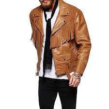 leather jackets suede fringe detailing motorcycle jacket for men lemj0057sss lemj0057b lemj0057
