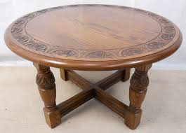 great carved oak coffee table jaycee sold concerning round oak coffee table ideas