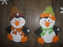Tonkarton Fensterbilder 2 Pinguine Mit Schneeflocken 7