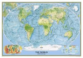 national geographic united states  world physical map combo set