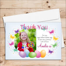 Thank You Easter 10 Personalised Girls Boys Happy Easter Egg Thank You Photo Post Cards N3