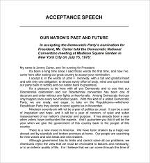 Template For A Speech 10 Acceptance Speech Example Templates Pdf