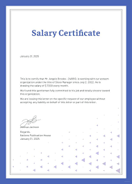New Salary Certificate Template Examples Salary Certificate Template