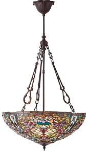 large anderson traditional 3 lamp inverted tiffany pendant light