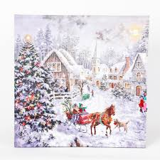 Winter Pictures With Led Lights Winsome House 16 In Winter Wonderland Sleigh Print With Led