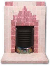 pink 1934 art deco tiled fireplace