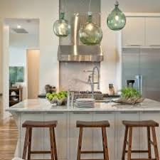 Green glass pendant lighting Blue Transitional White Eat In Kitchen With Green Glass Pendant Lights Photos Hgtv Photos Hgtv