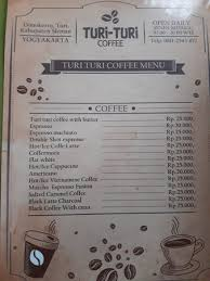 Coffee Menu Mesmerizing The Menu They Also Provide Crafted Coffee Picture Of Turi Turi