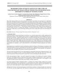 Transformer Design Parameters Determination Of Equivalent Electric Circuit Parameters Of