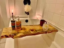 hand crafted live edge bathtub tray