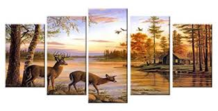 deer pictures wall decor art canvas prints large 5 piece moose wildlife themed artwork country peaceful on country kitchen canvas wall art with amazon deer pictures wall decor art canvas prints large 5 piece