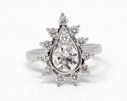 pear diamond ring vine 14k white gold 1 62 ctw diamond cer enement size 6 old european cut halo bridal statement fine jewelry