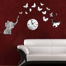 living room wall clocks. Amazon.com: DIY Decorative Modern Mirror Wall Clock Sticker Acrylic Room Silent Large New Bedroom Livingroom Children Office Decore Elephant Butterfly White Living Clocks