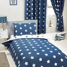 navy blue white stars junior duvet cover pillowcase set kids boys