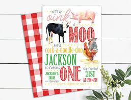 moo invitations farm animals birthday invitation oink moo cock a doodle doo plaid