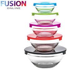 5 stackable glass bowl bowls food storage kitchen set with lids dishwasher safe