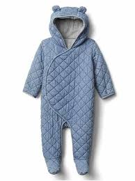 quilted chambray bear one piece