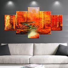 Hd Gedruckt 5 Stück Leinwand Kunst Herbst Herbst Rot Saison Malerei