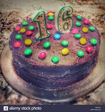 Sixteenth Birthday Cake Home Made Chocolate Cake With Colourful