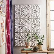 amazing carved wall decor lennon maisy ornate wood art set of 3 p bteen white uk