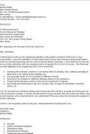 Cover Letter Vet Tech Experience Resumes