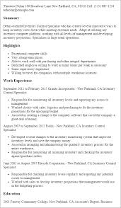 Resume Templates: Inventory Control Specialist