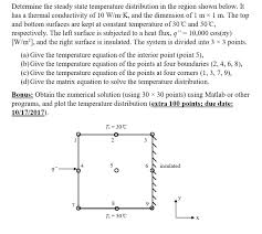 determine the steady state temperature distribution in the region shown below it has a thermal