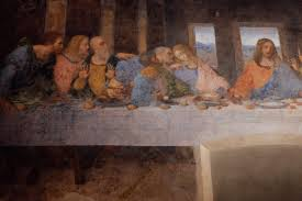close up of half of the fresco the last supper by leonardo da vinci