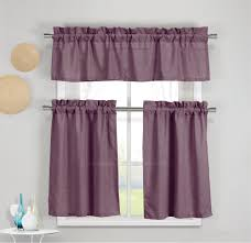 Kitchen Window Curtain Panels 3 Piece Faux Cotton Plum Purple Kitchen Window Curtain Panel Set