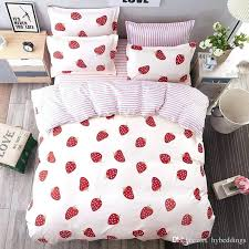 white king size bedding red strawberry sets single double queen duvet set black and quilt